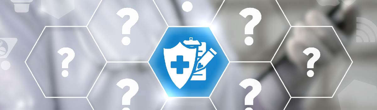 blue shield and checklist surrounded by question marks